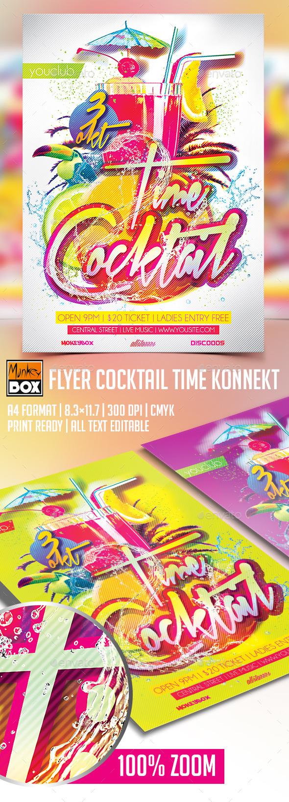 Flyer Cocktail Time Konnekt - Flyers Print Templates