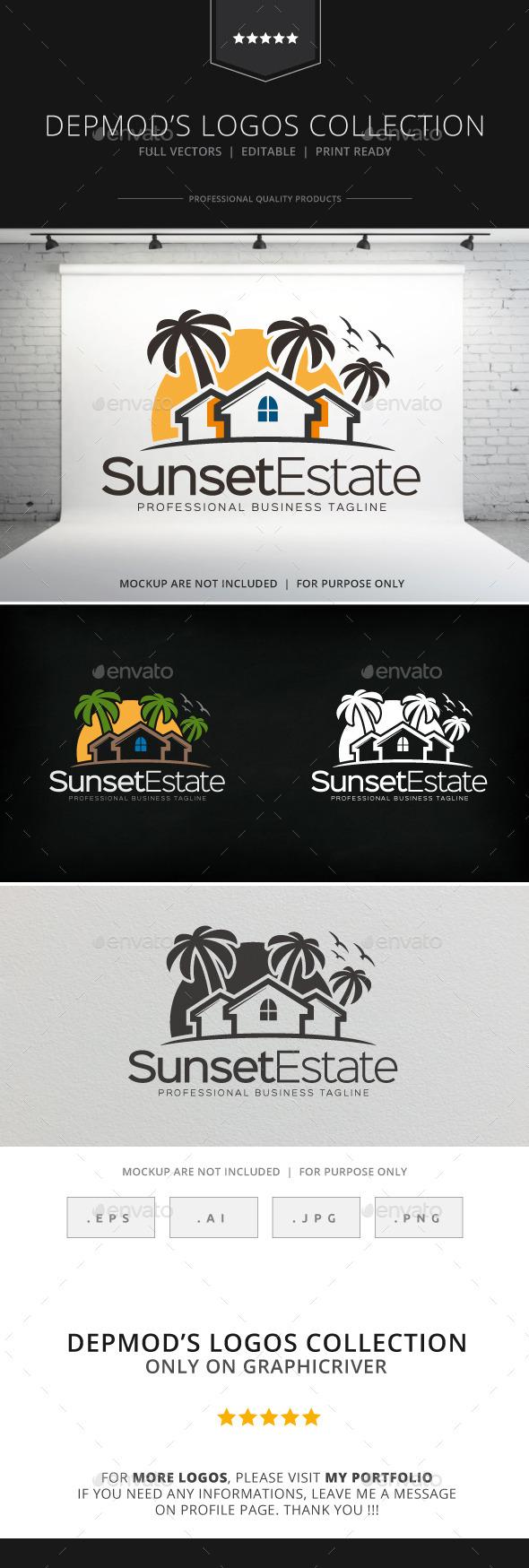 Sunset Estate Logo - Buildings Logo Templates