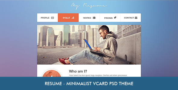 Resume – Minimalist Professional vCard PSD