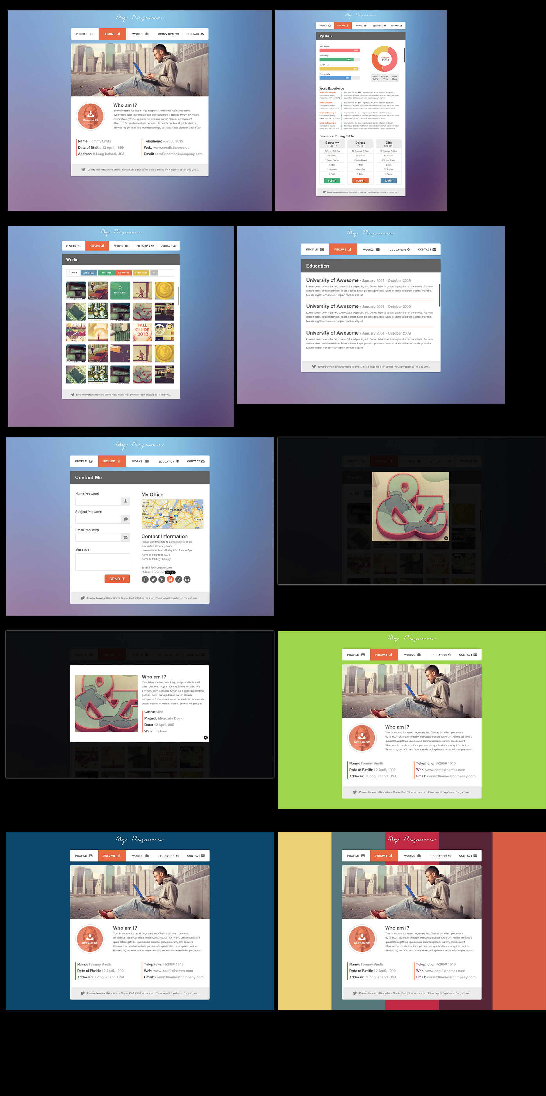resume minimalist professional vcard psd by coralixthemes