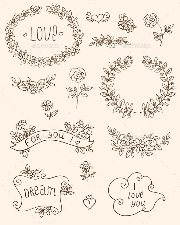 Romantic Doodle Elements - Decorative Symbols Decorative