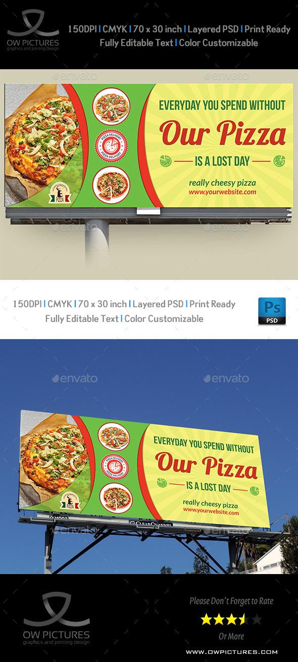Pizza Restaurant Billboard Template - Signage Print Templates