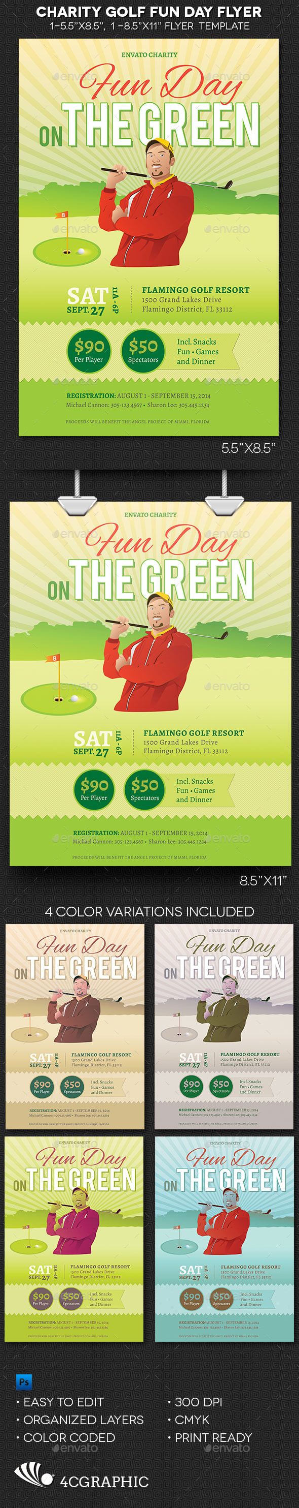 Charity Golf Fun Day Flyer Template  - Sports Events