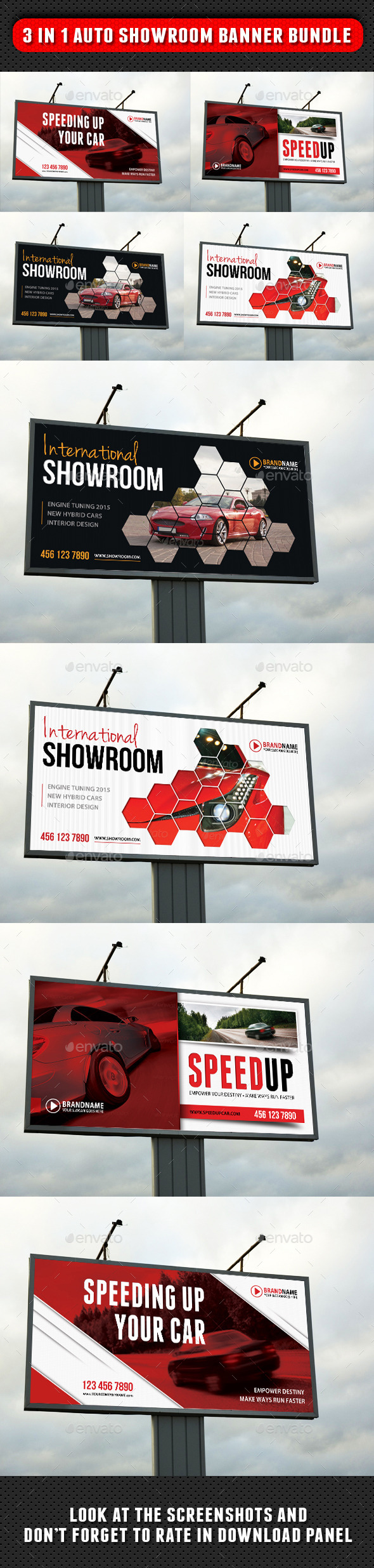 3 in 1 Auto Showroom Outdoor Banner Bundle - Signage Print Templates
