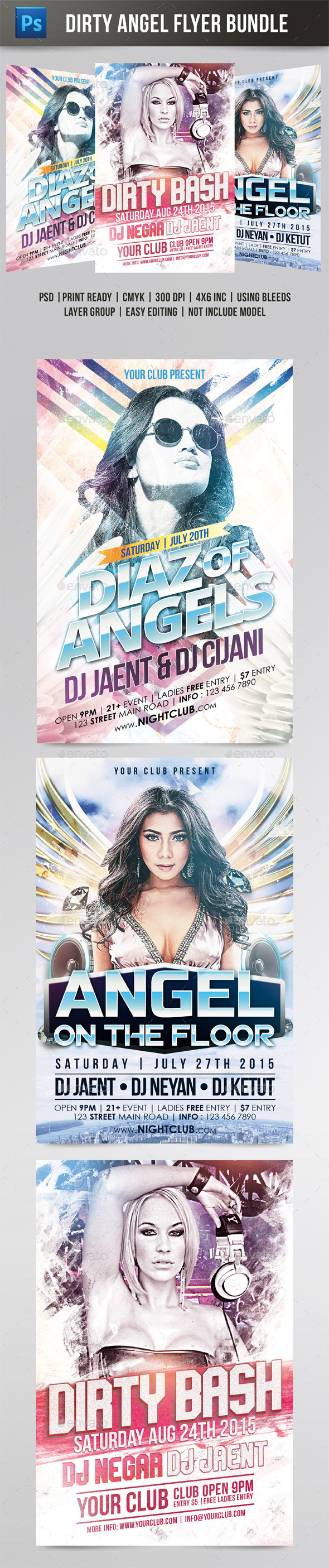 Dirty Angel Flyer Bundle - Clubs & Parties Events