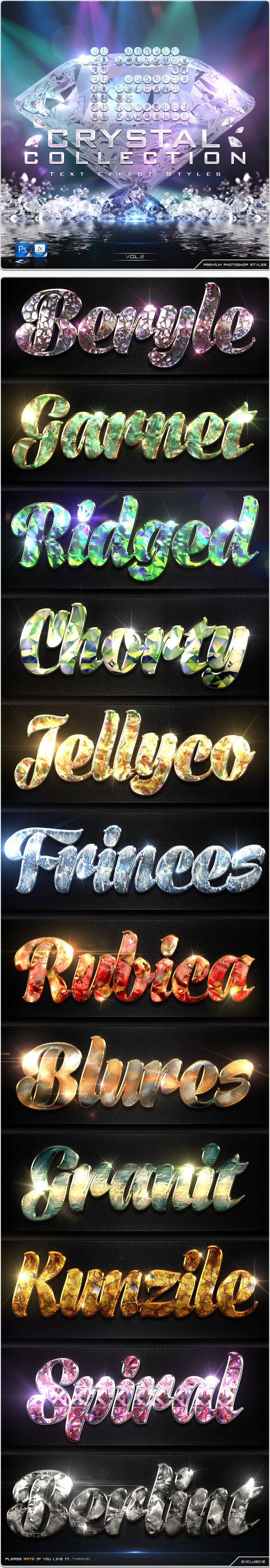 12 Crystal Collection Text Effect Styles Vol.2 - Text Effects Styles