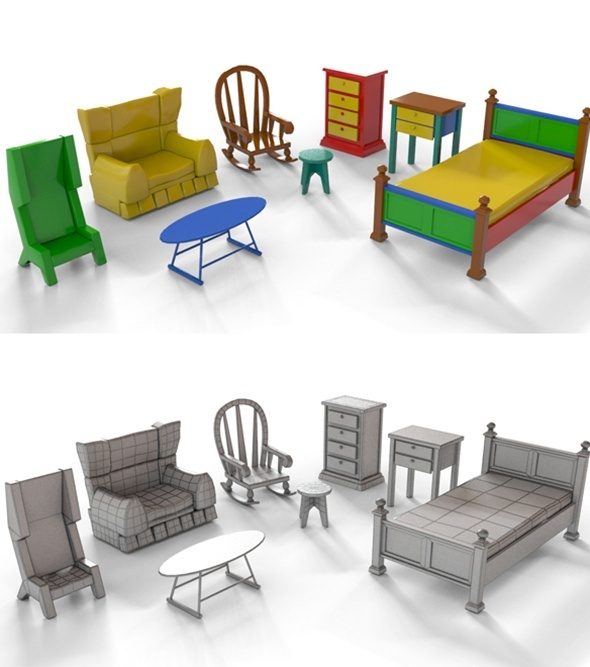 Cartoon Furniture - 3DOcean Item for Sale