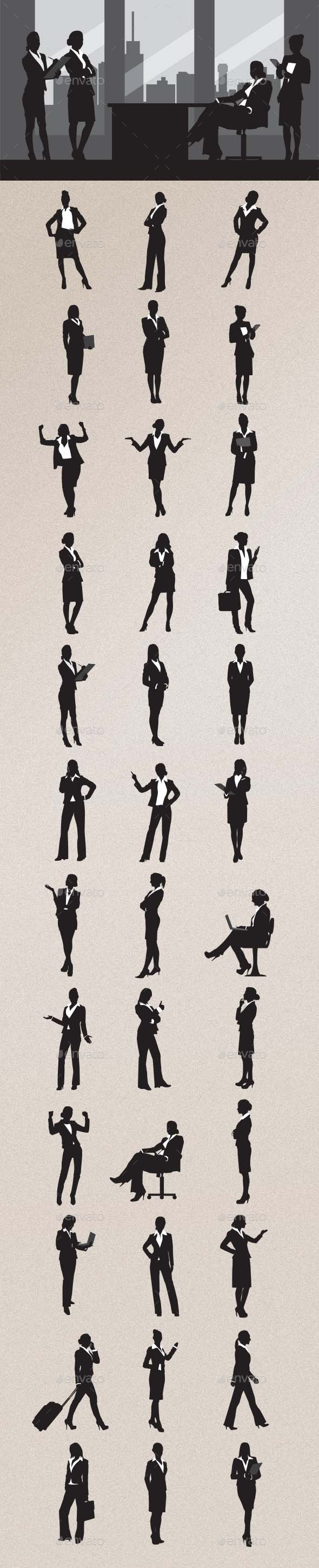 Business Woman Silhouettes - People Characters