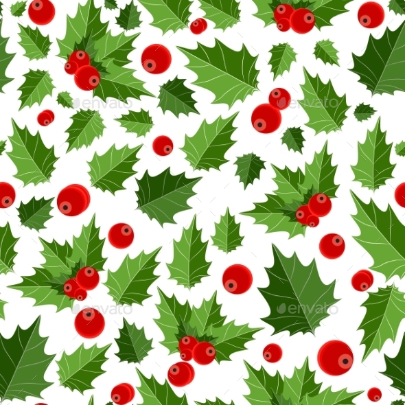 Abstract Beauty Christmas Berry Seamless Pattern - Christmas Seasons/Holidays