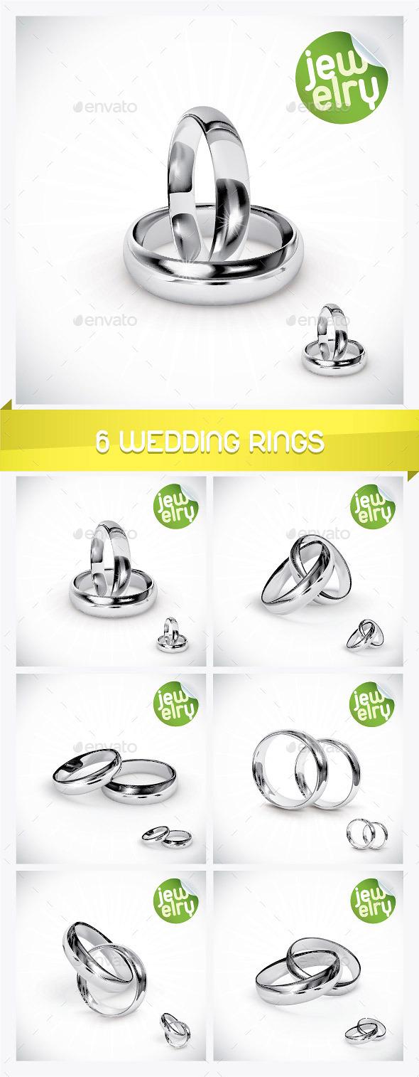 6 Silver Wedding Rings - Weddings Seasons/Holidays