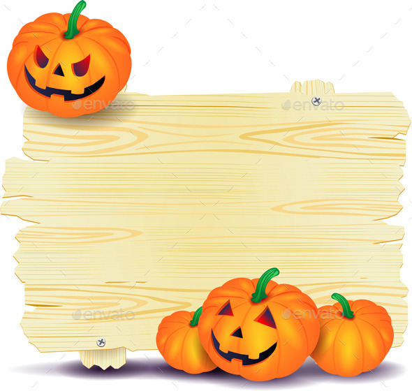 Halloween Signboard with Pumpkin - Halloween Seasons/Holidays