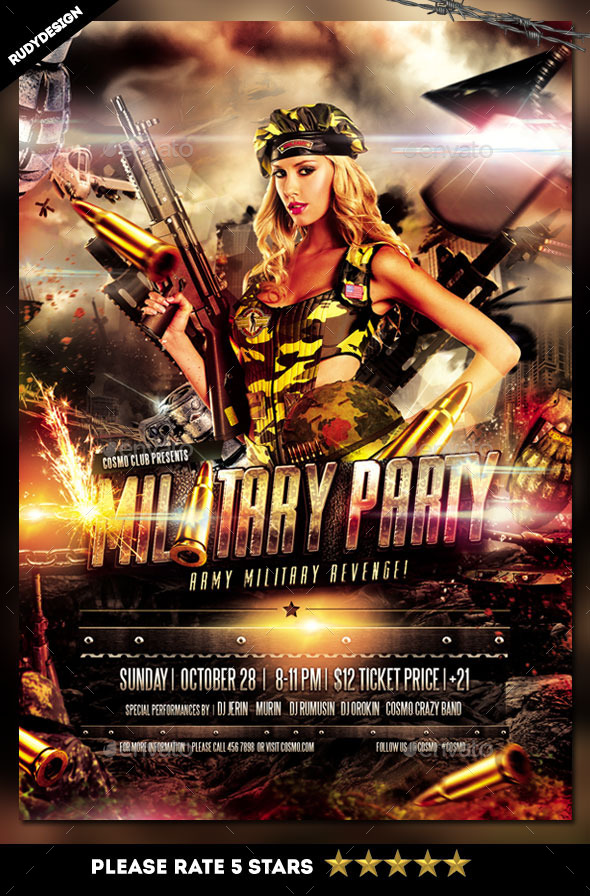 Army Military Flyer Template Design - Clubs & Parties Events