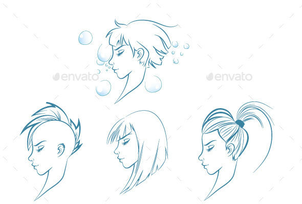 Side View of Stylized Woman - People Characters