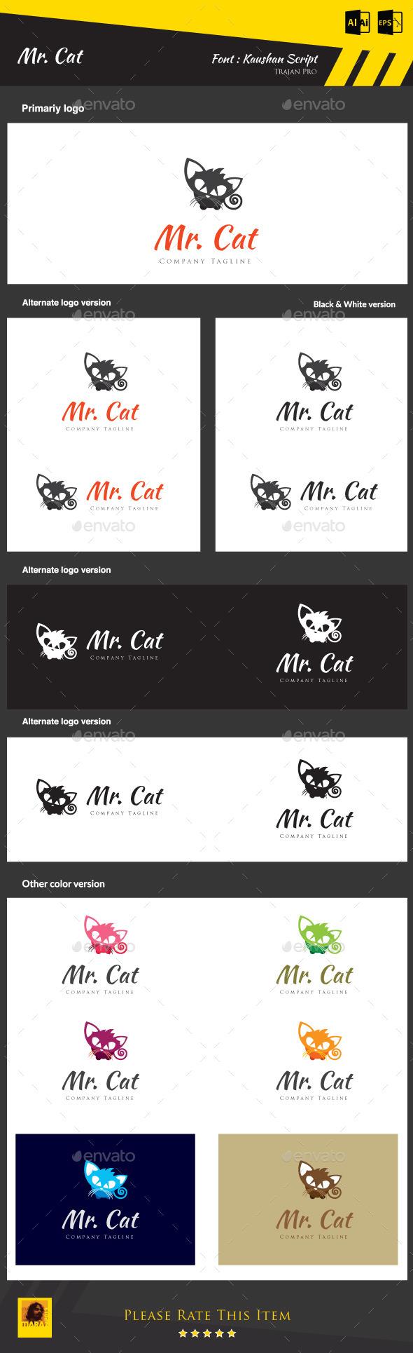 Mr. Cat - Animals Logo Templates