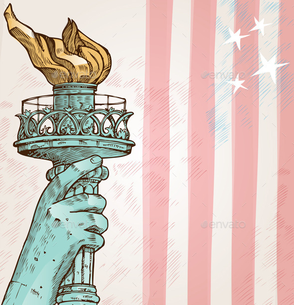 Statue of Liberty with Torch - Backgrounds Decorative