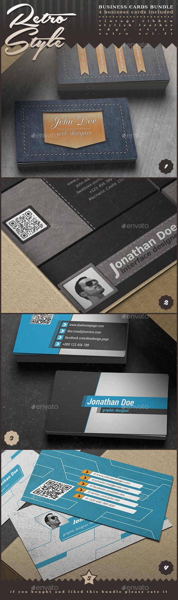 Retro Style Business Cards Bundle - Retro/Vintage Business Cards