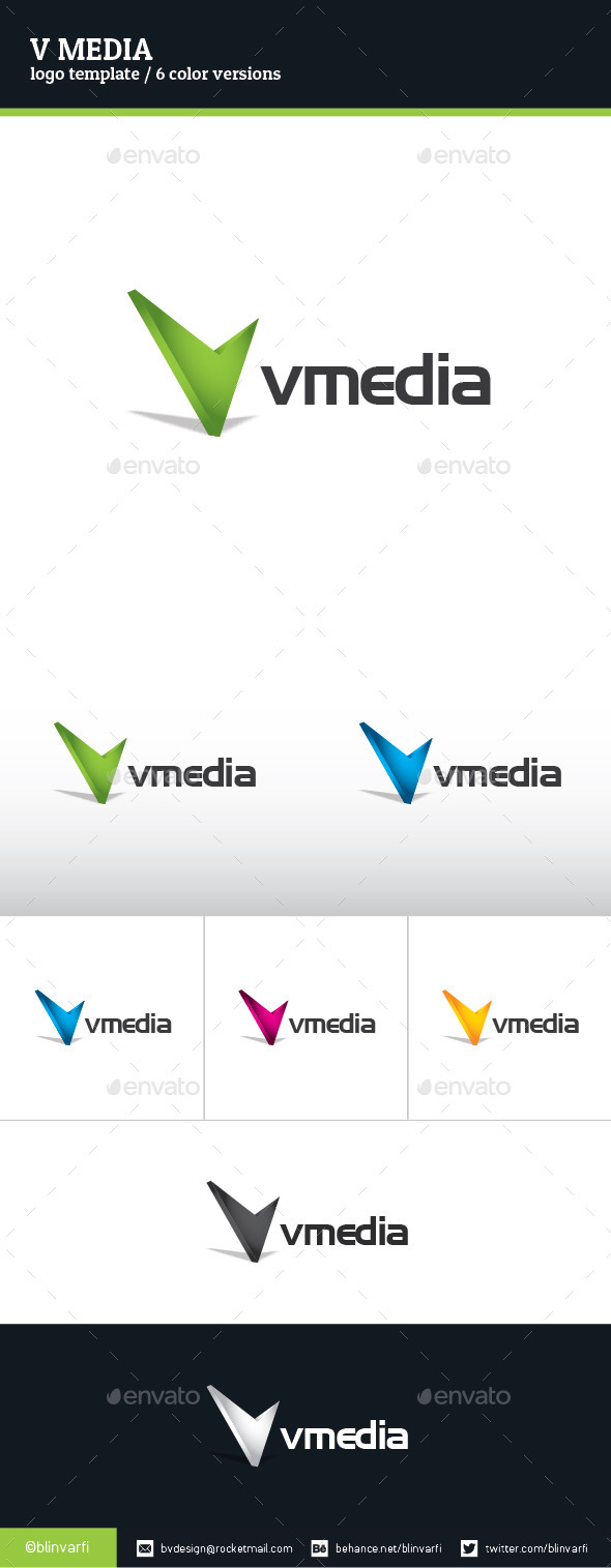 V Media Logo Template - Letters Logo Templates