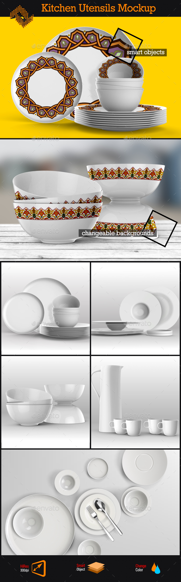 Kitchen Utensils / Dishes Mockup - Product Mock-Ups Graphics