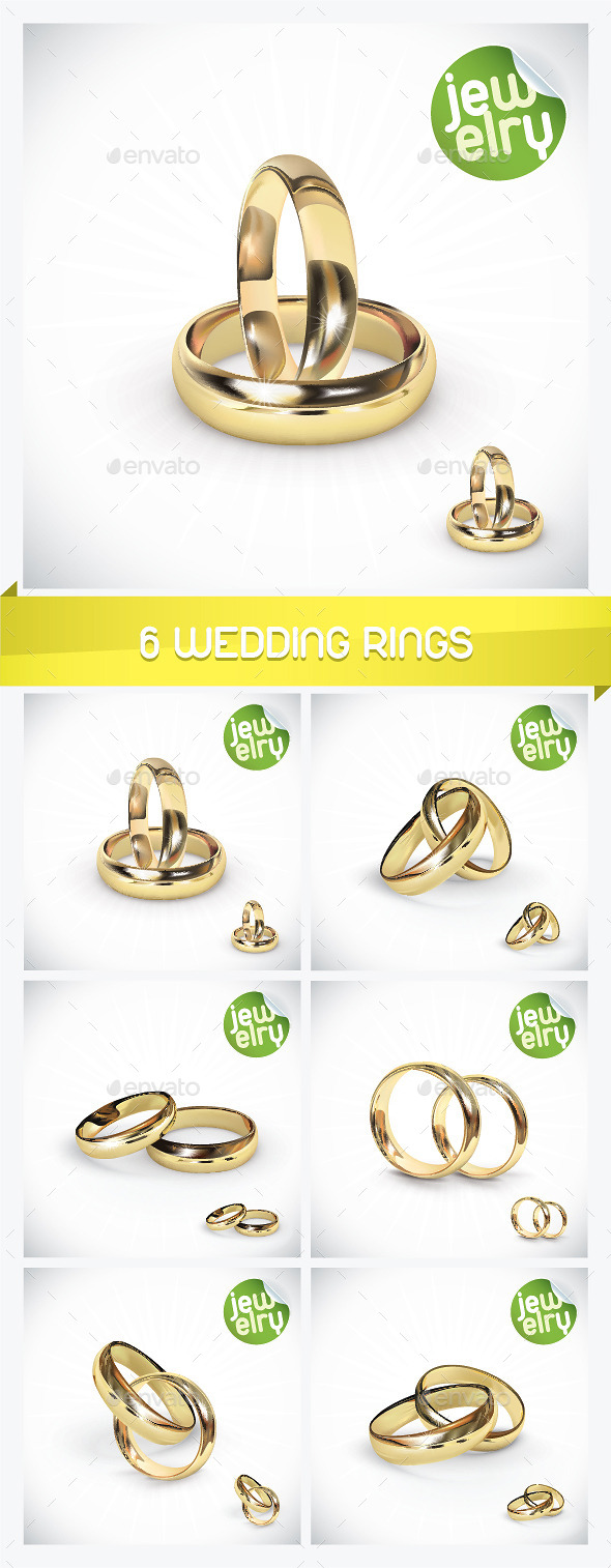 6 Gold Wedding Rings - Weddings Seasons/Holidays