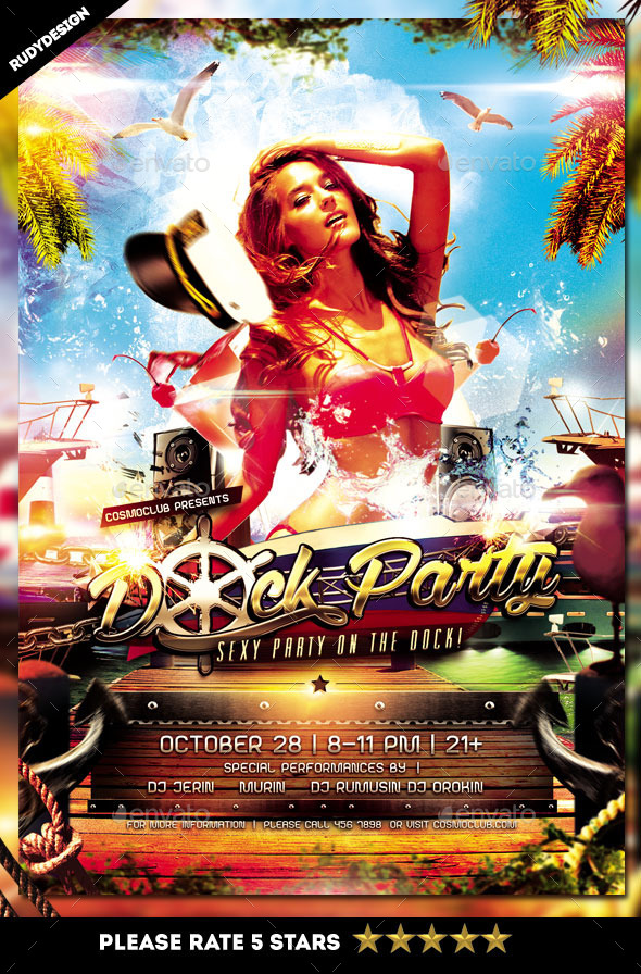 Dock Party Boat Party Flyer Design - Clubs & Parties Events