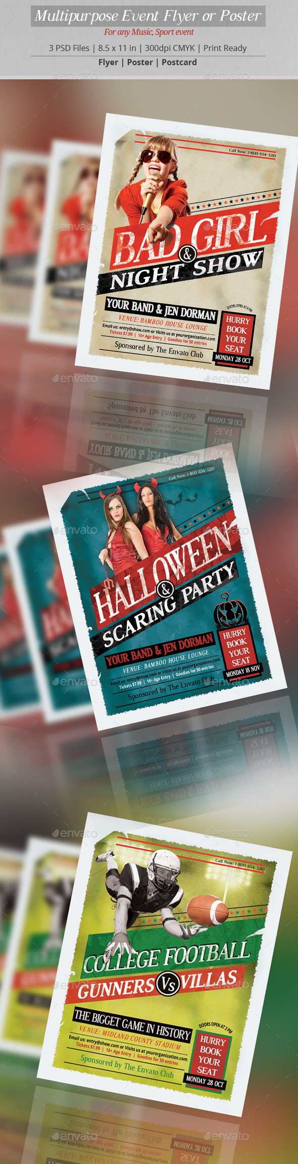 Multipurpose Event Flyer or Poster - Clubs & Parties Events