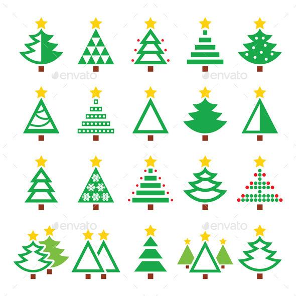 Christmas Green Tree Various Types Icons  - Christmas Seasons/Holidays