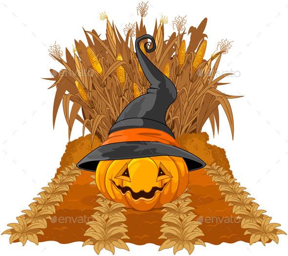 Pumpkin on Corn Maze  - Halloween Seasons/Holidays