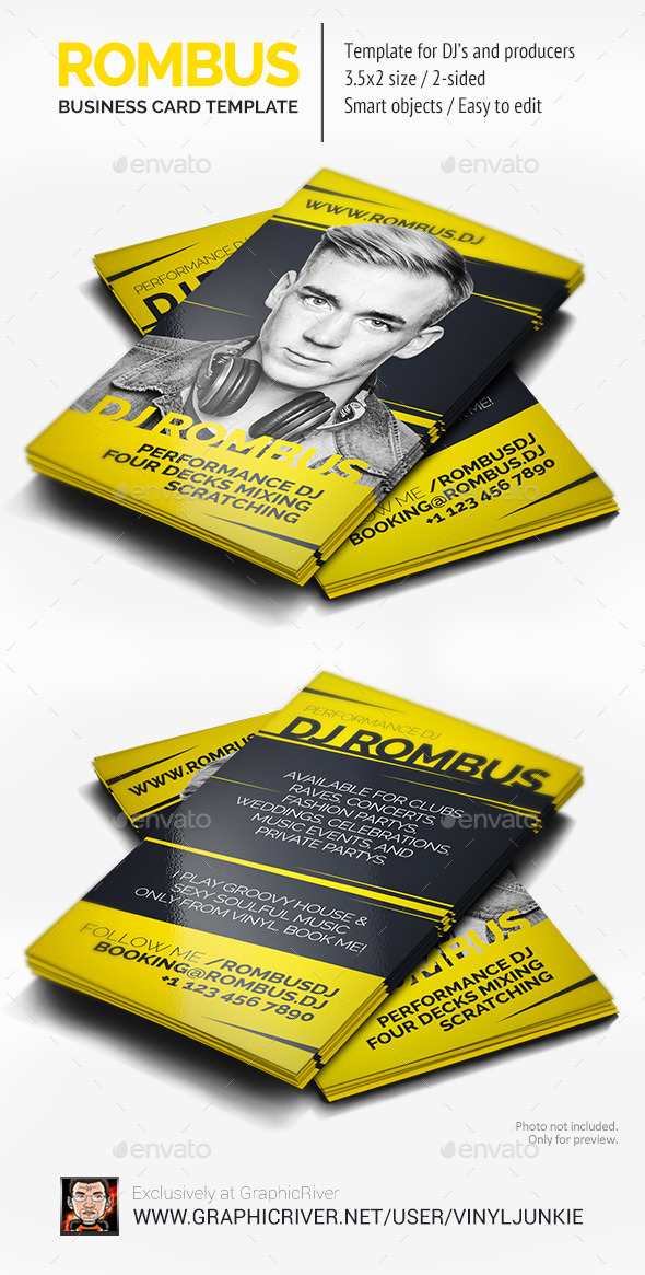 Rombus - DJ Business Card - Industry Specific Business Cards