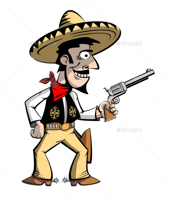 Cowboy Mexican in Sombrero - People Characters