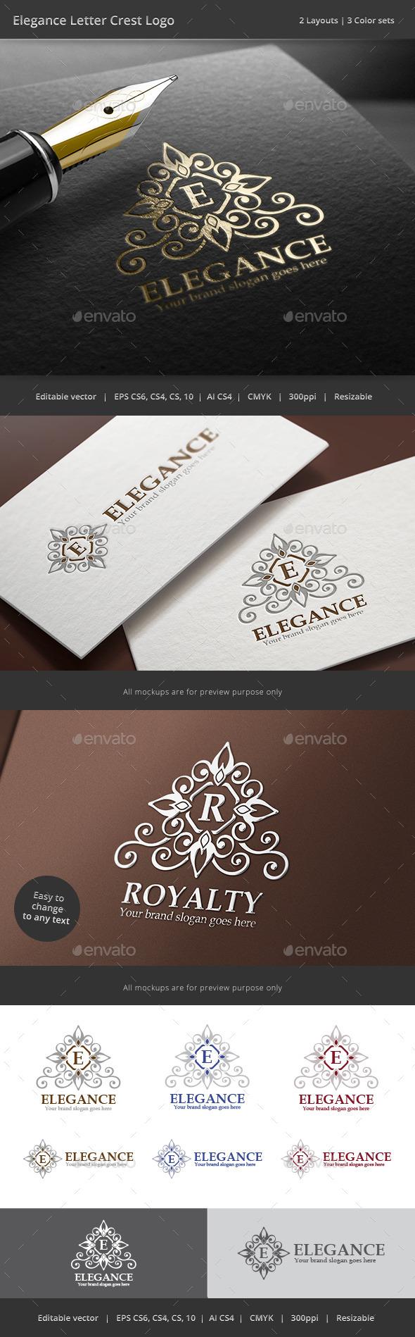 Elegance Letter Crest Logo - Crests Logo Templates