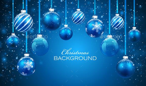 Christmas Balls on Blue Background - Christmas Seasons/Holidays