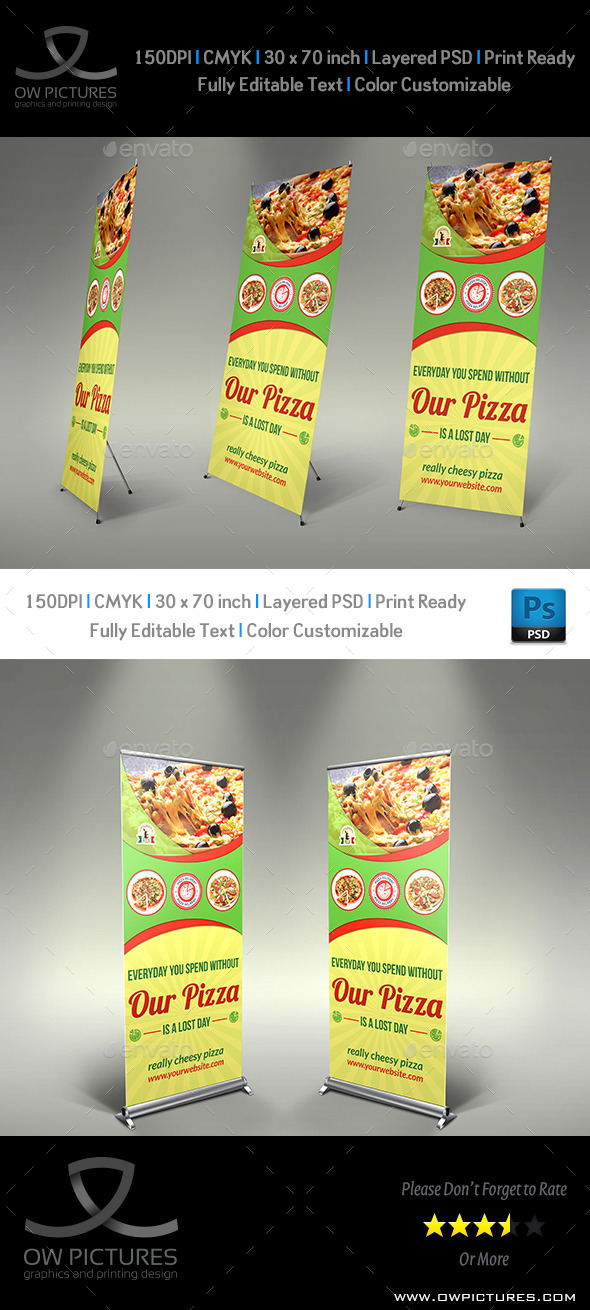 Pizza Restaurant Signage Banner Template - Signage Print Templates