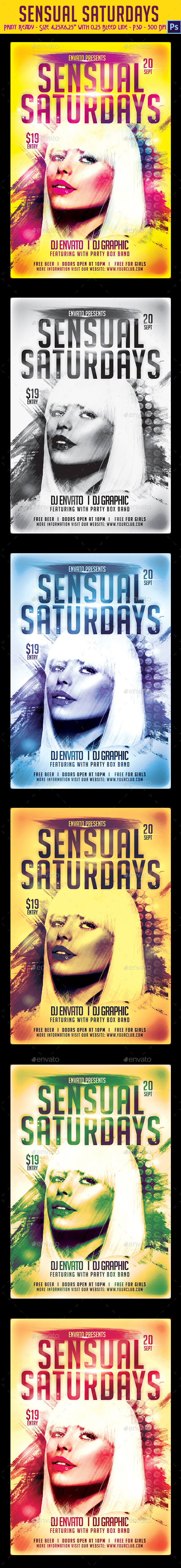 Sensual Saturdays Party Flyer - Clubs & Parties Events
