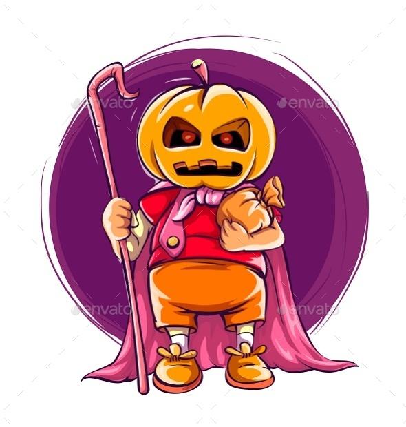 Child in Halloween Costume with Pumpkin - Halloween Seasons/Holidays