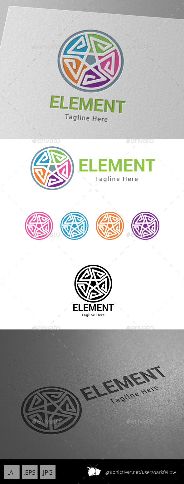 E Letter Five Element Logo - Abstract Logo Templates
