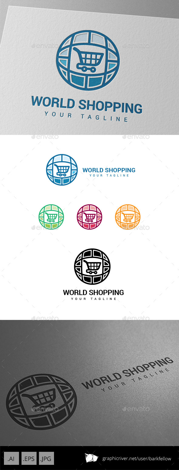 World Wide Online Shopping Market Logo - Abstract Logo Templates