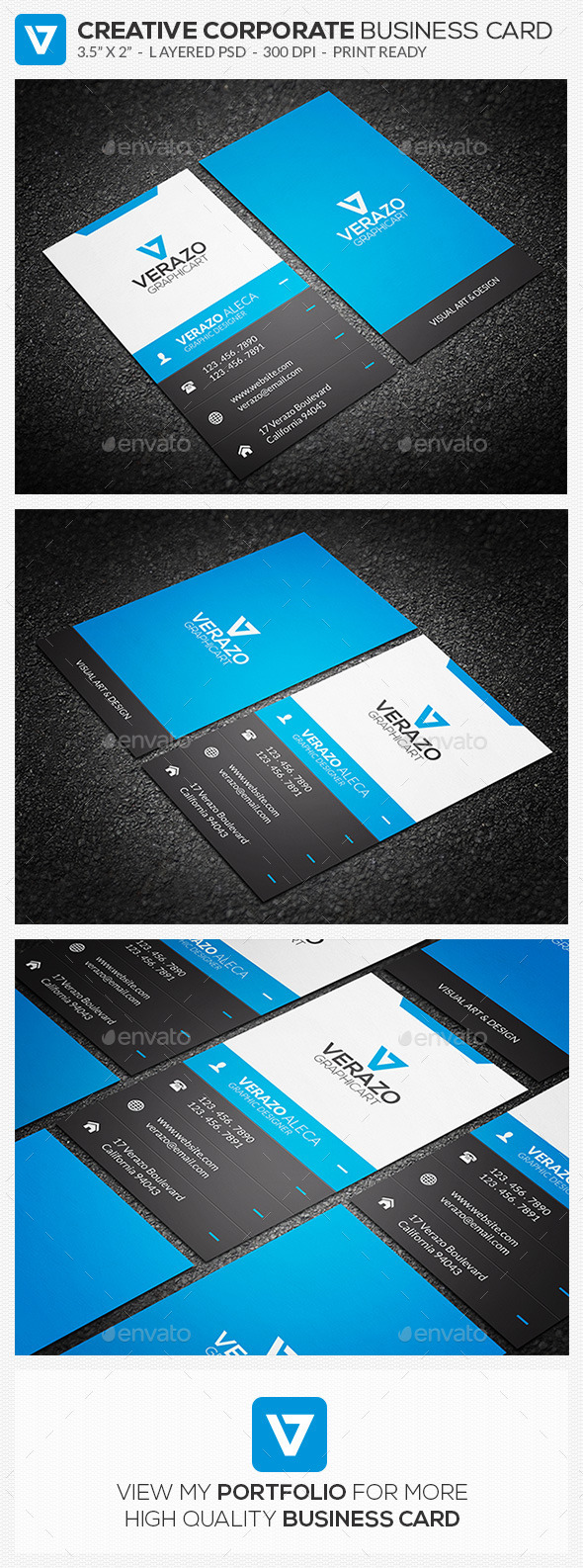 Creative corporate business card 61 by verazo graphicriver creative corporate business card 61 creative business cards magicingreecefo Choice Image