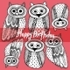 Happy birthday Decorative Hand Drawn Cute Owl Sketch - GraphicRiver Item for Sale