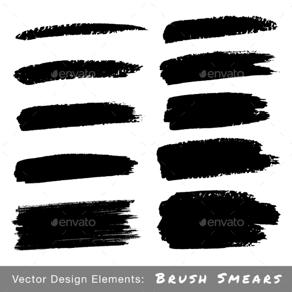 Set of Hand Drawn Grunge Brush Smears - Miscellaneous Vectors