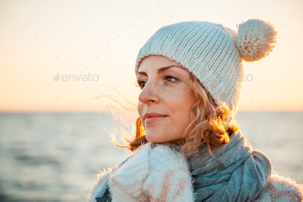 Woman in knitted clothes - Stock Photo - Images