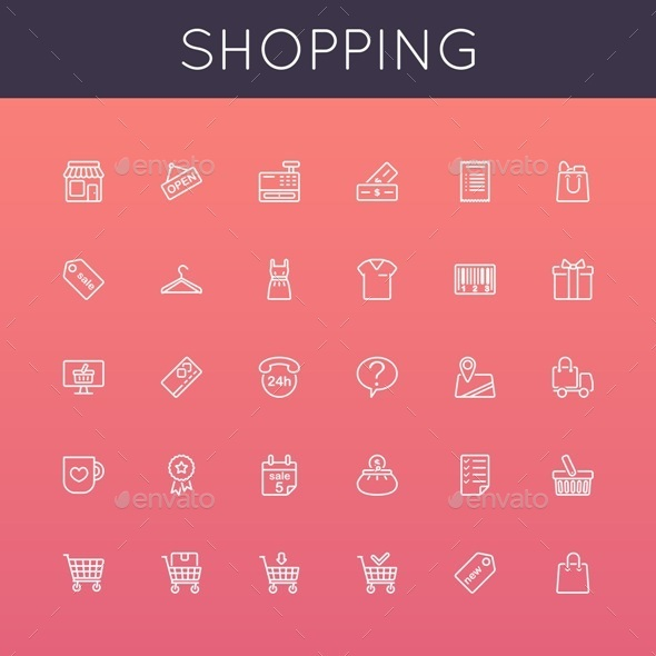 Vector Shopping Line Icons - Business Icons