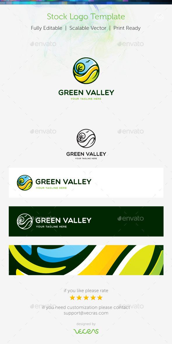 Green Valley Stock Logo Template  - Nature Logo Templates