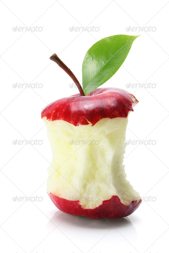 Bitten Apple Core - Stock Photo - Images