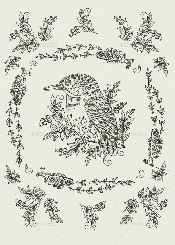 Vector Pattern with Birds and Flowers - Flowers & Plants Nature