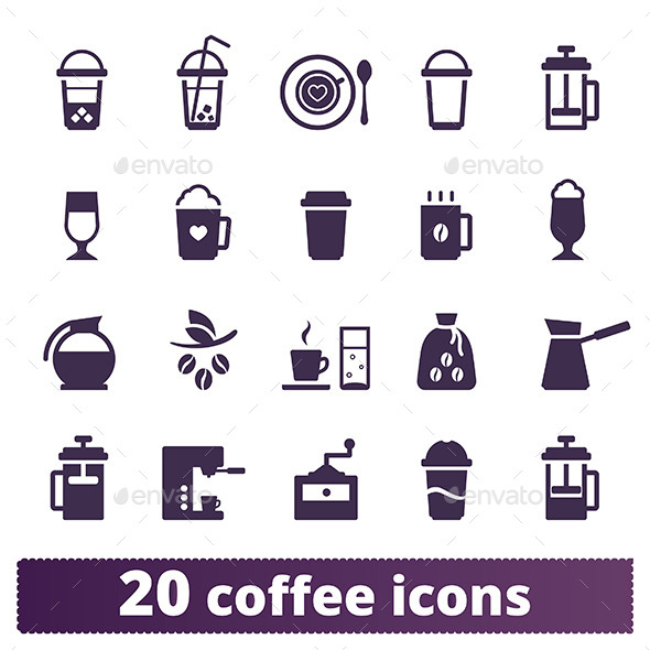 Coffee Icons: Vector Set. - Food Objects