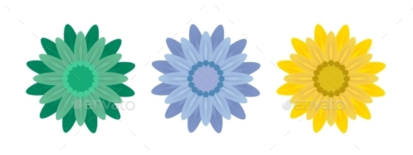 Abstract Flowers on White Background. Vector Illustration. - Flowers & Plants Nature
