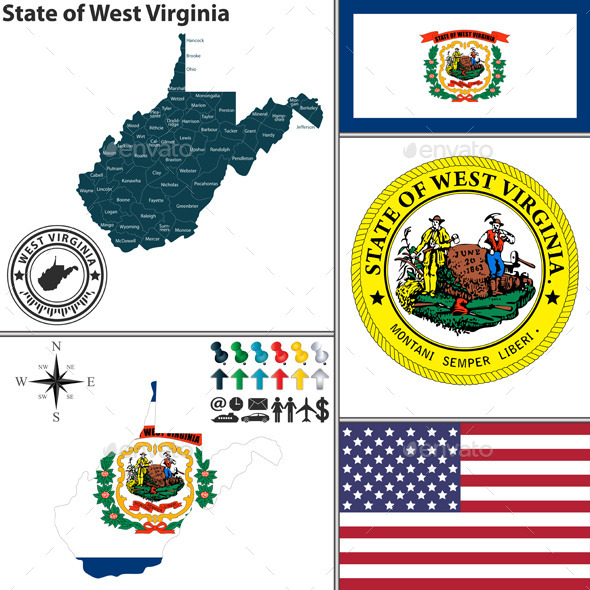 Map of state West Virginia, USA - Travel Conceptual