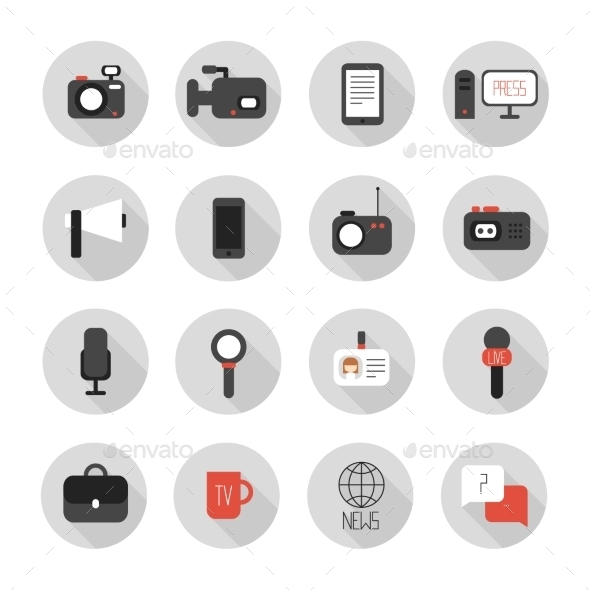Set of Flat Colorful Vector Journalism Icons - Web Technology
