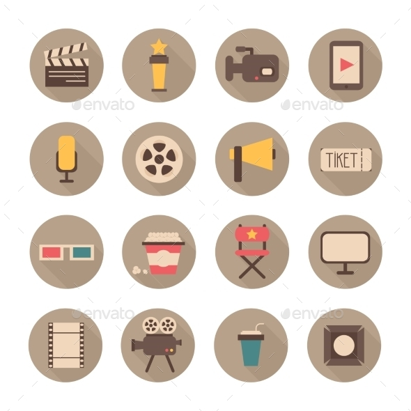 Set of Movie Design Elements and Cinema Icons - Objects Illustrations