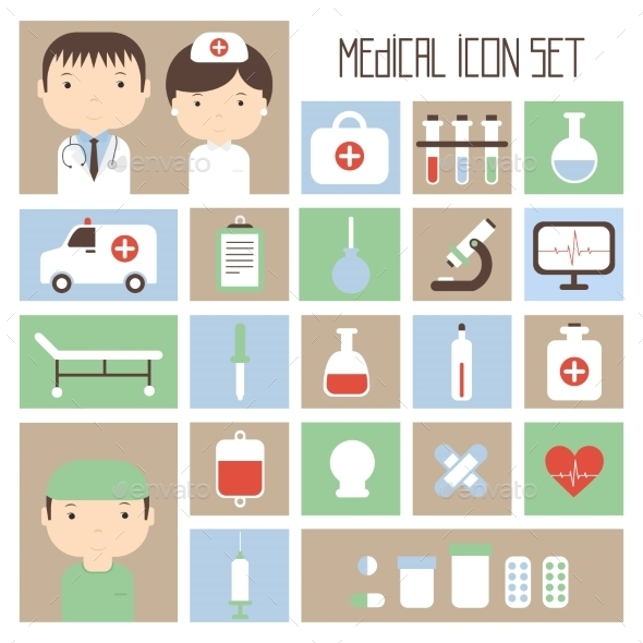 Medical and Health Vector colorful Icons Set - Health/Medicine Conceptual